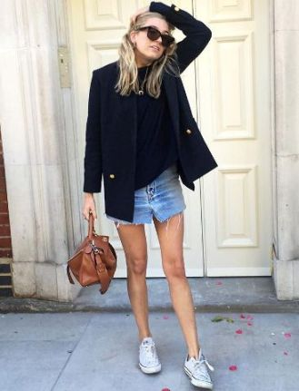 blazer with mini denim skirt