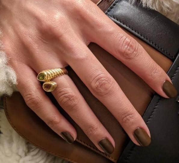 chocolate brown manicure